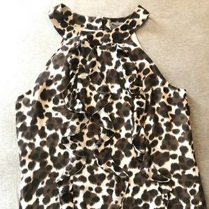 Ann Taylor Halter Cut Sleeveless Blouse Leopard